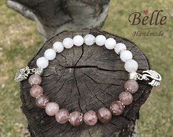 Bracelet from natural agate and rose quarz