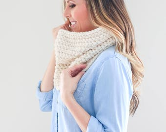 Chunky Knit, Infinity Cowl Scarf *The Savannah* in Ivory