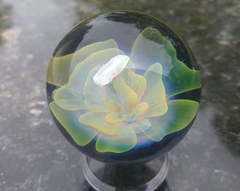 24k gold/.999 silver fume, pink (Lucy) blacklight reactive marble with encased opal