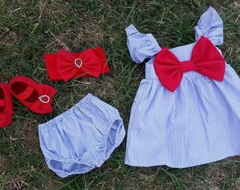 fluffy sleeves big bow dress, striped dress