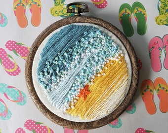 Hand Embridered seaside, beach scene, 3 Inch Hoop, Embroidery Art, Wall Art, Home Decor