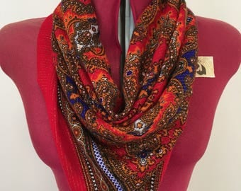 Vintage scarf - red & gold paisley