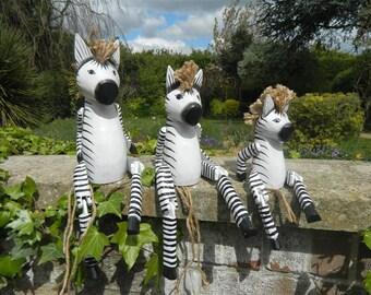 Wooden Zebra Carving - Sitting Shelf Sitter Zebra Ornament - Zebra 25cm