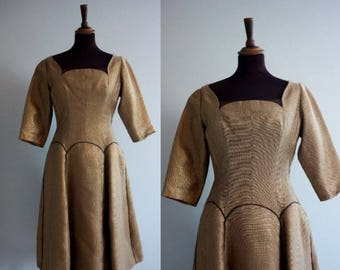 1960s Dress / 1960s Coktaildress / Bronse metallic dress / 1960s