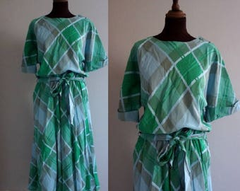 1980s does 1920s Green and Blue Checked Dress / Vintage Dress