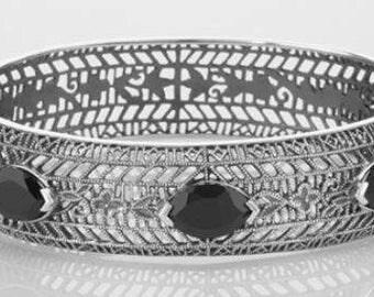 Art Deco Style Filigree Bangle Bracelet Black Oynx Sterling Silver