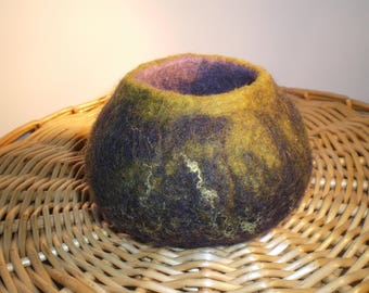 Aubergine and moss green wet felted wool trinket pot