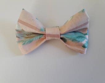Stripes and Flowers Hair Bow Tie Collar