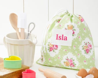 Personlised Childrens Baking Set in a Floral Bag/ Personalised Baking Gift Set/Childrens Cooking Gift/Birthday Baking Gift/Baking Set