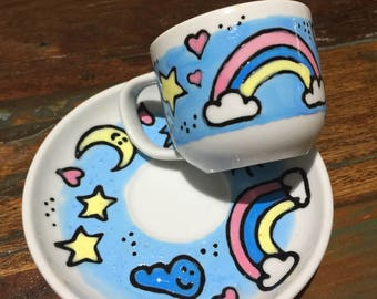 Cute rainbow and weather babychino or espresso cup and saucer