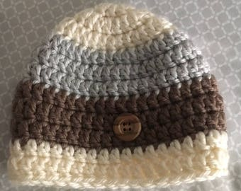 Infant baby hat   Cream, gray, and brown