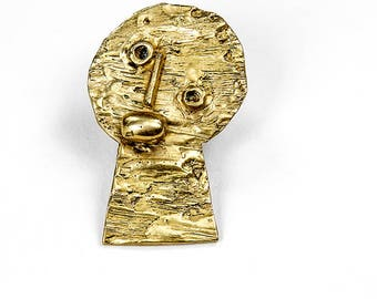 brooch pendant in polished gold bronze (Golden)