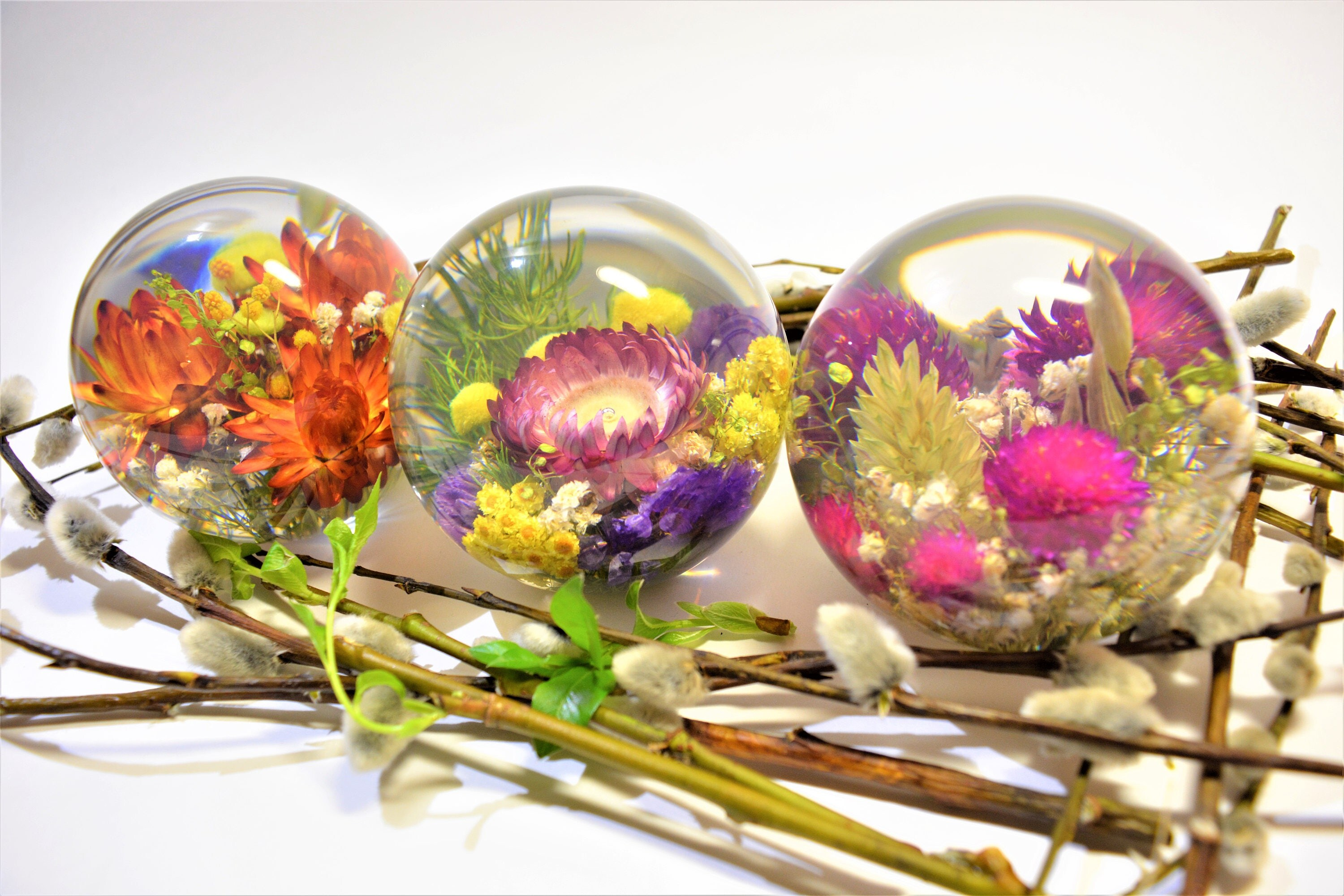 Paperweights With Flowers Transparent Sphere Abstract Balls Gift