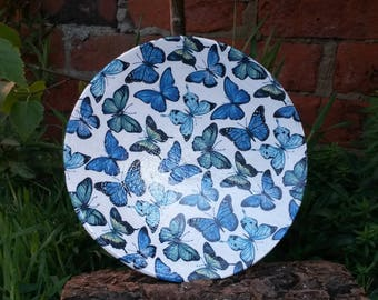 Decoupaged Butterfly Plate, Butterfly Plate, Decorated Plate, Decorative Plate