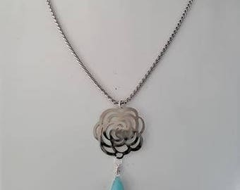 Handmade Stainless Steel 80cm Flower and Turquoise Briolette Necklace