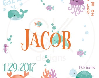 UNDER the SEA Stats Template-Baby Stats-Pillow Template-New Baby-Sketch-Birds-Baby-Template-SVG-Birth Announcement-Nursery Decor-Fish-Sea
