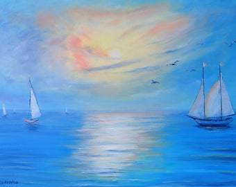 Pearlescent azure. Original oil painting on canvas, Sea painting, Boats and sailboats, impasto art on canvas by Alekseenko 28x20 inches