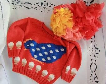 Sweater hand-knitted in 100% Merino wool
