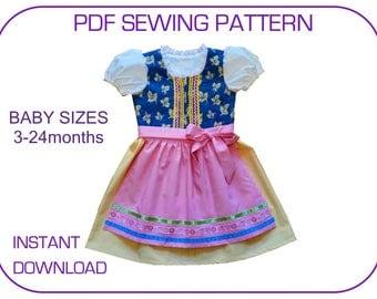 Dirndl pattern Baby Toddler 3-24 months Folk dress Baby dirndl dress Baby dress pattern Austrian dress Baby girls Oktoberfest outfit