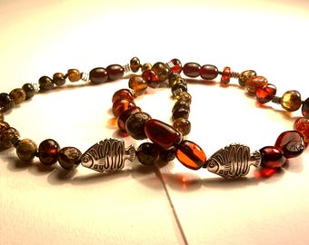 Natural Baltic Amber Unisex Bracelets with Fish Centerpiece  Various Colours