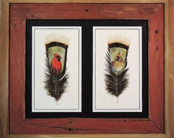 Hand Painted Wild Turkey Feathers-Pair of Cardinals