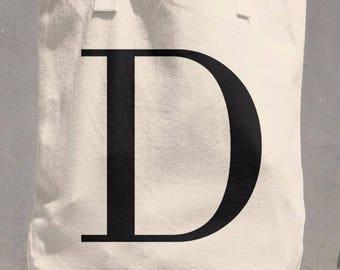 Canvas Tote Bag - D Serif Monogram