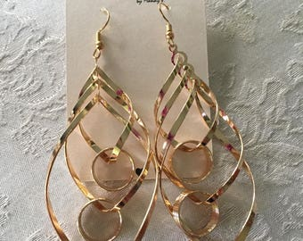 Gold link earrings.