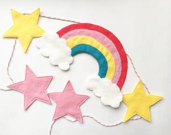Felt nursery garland, rainbow bunting, wall decor