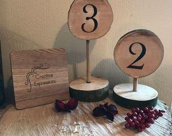 Vintage rustic wooden log table numbers