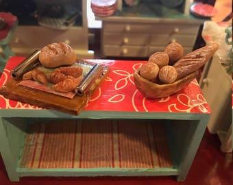 Miniature breads, rolls, baguettes, croissants, and hand carved wood Bread basket- 12th scale miniatures