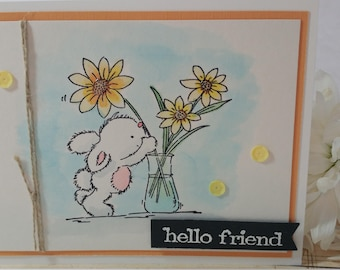 Hello Friend, Any Occasion Handmade, Handstamped Card