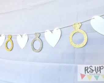 Wedding Garland, Engagement Garland, Bridal Shower Garland, Wedding Banner, Wedding Decor, Engagement Decor, Bridal Decor, Engagement Rings