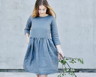 Women's linen dress 3/4 sleeve