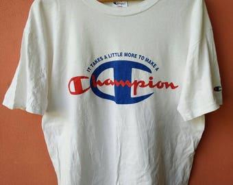 Vintage Chmpion Big Logo T Shirt Rare