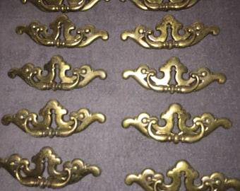 10 Vintage Brass Drawer Pulls