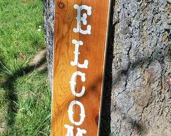 Welcome Sign Reclaimed Pine
