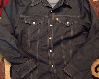 Vintage 1970s levis polyester pearl snap shirt!