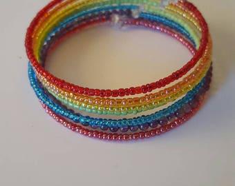 Rainbow Seed Bead Memory Wire Bracelet
