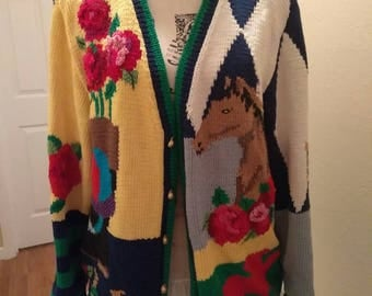 Size M Rare Vintage Kentucky Derby Horse Racing Cardigan Hand Knitted