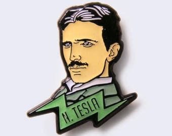 Nikola Tesla Glow-in-the-Dark Enamel Pin - Science Heroes Series