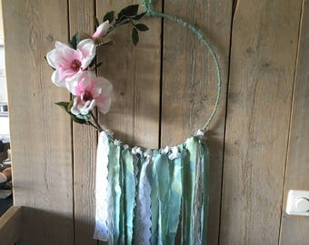 DreamCatcher large Ibiza style, blue with flowers