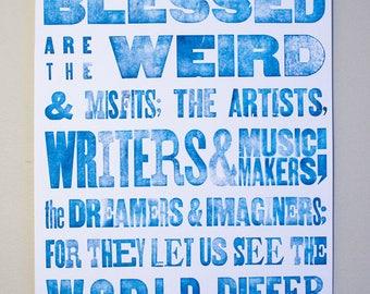 Blue Letterpress Poster