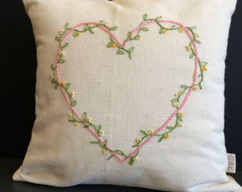 Hand Embroidered Heart Cushion in Yellows and Pinks with Chenille Back
