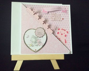 New Baby Card, New Baby Girl Card, Card for a Baby Girl, Handmade Card for a Baby Girl, Baby Shower Card