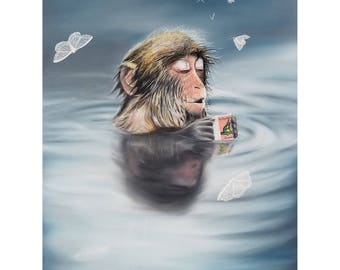 Limited Edition. Print, oil painting, Japanese Macaque, coffee, hot spring. Relaxing. coffee. moth. macaque. water. snow monkey. monkey.