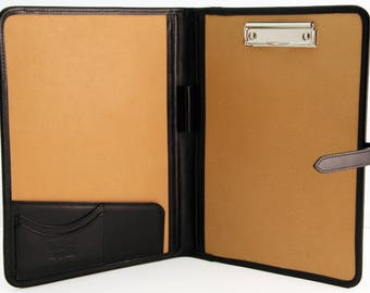 Noda Italian Genuine Leather Business Presentation Meeting Conference Folder a4 with Clipboard Black