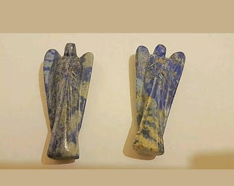 Natural Lapis Lazuli Stone Carved 5cm Guardian Angel Sculpture Uk