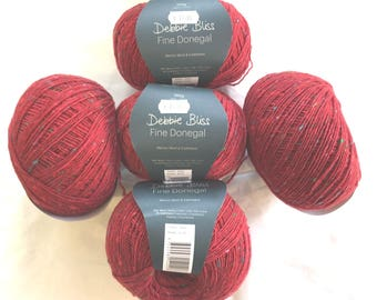 5 New Balls of Debbie Bliss Fine Donegal Red with coloured specs. 54020 Half Price