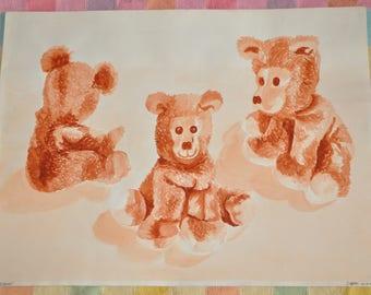 "Original Watercolor ""Sandra's Bears"" Signed Nursery Kid's Room Art"