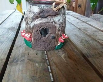 Gnome house candle holder